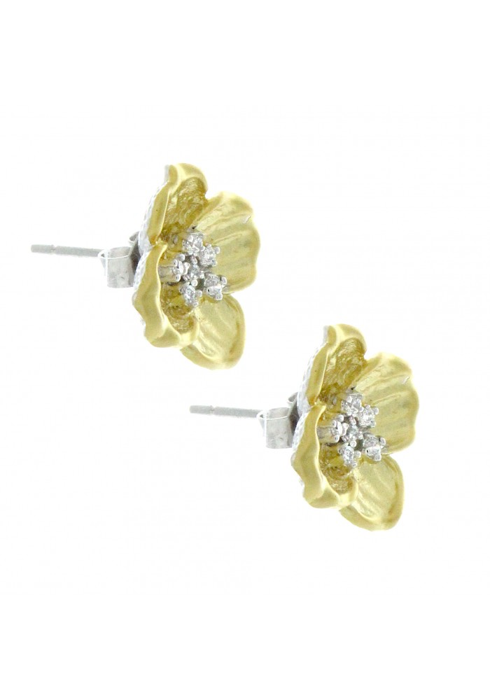 Sterling Silver .925 and CZ Gold Plated Flower Stud Earrings