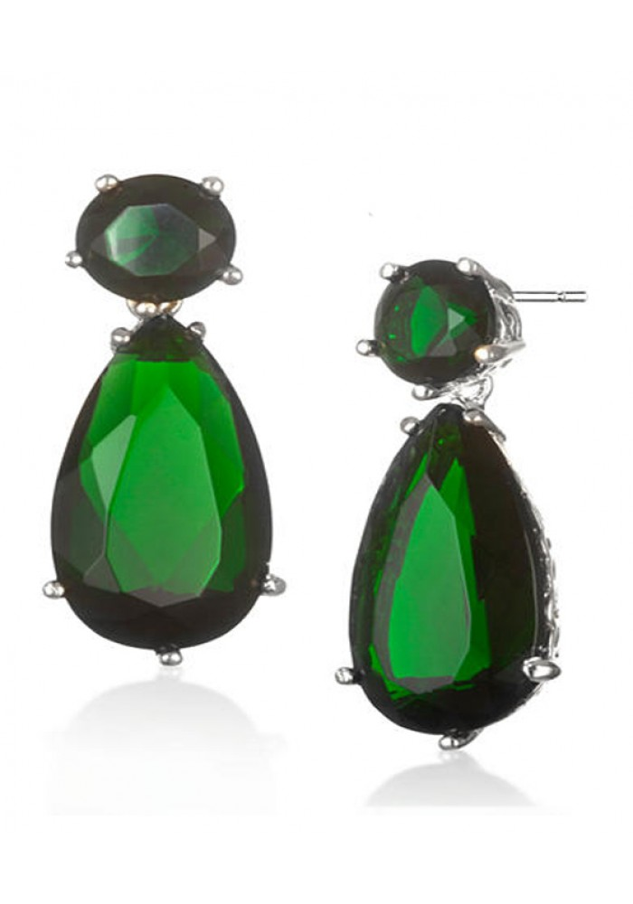 Sterling Silver .925 CZ Round Pear Sim Emerald Green Earrings