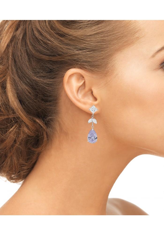 Sterling Silver .925 Lavender CZ Teardrop Earrings