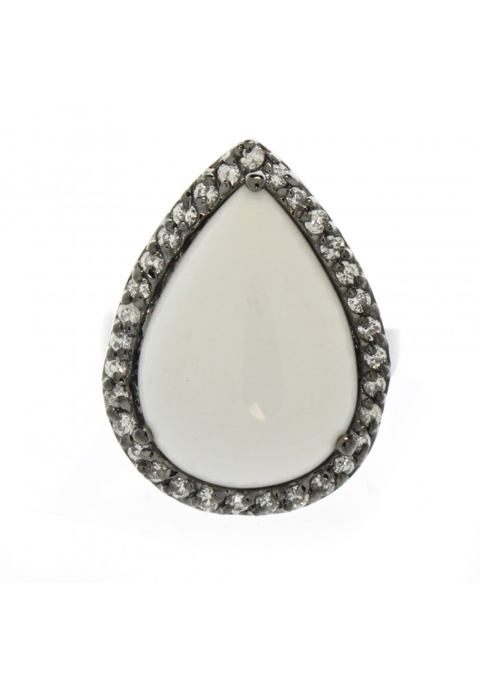 Rhodium White Agate Ring