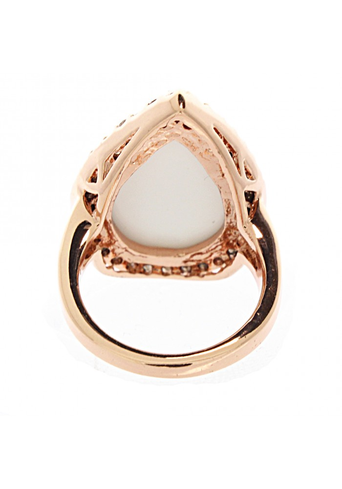 Pear Rose Gold Plated White Agate Ring
