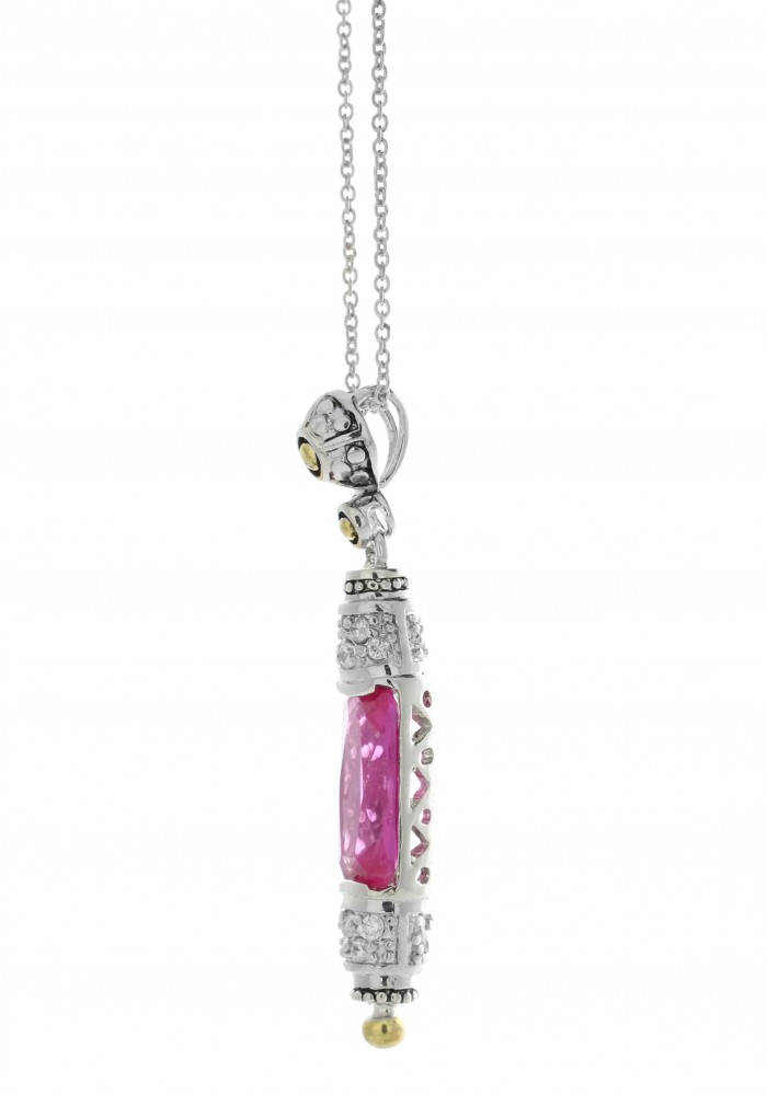 "Sterling Silver Moroccan Style Pink Sapphire CZ Drop Necklace on 18"" Chain"
