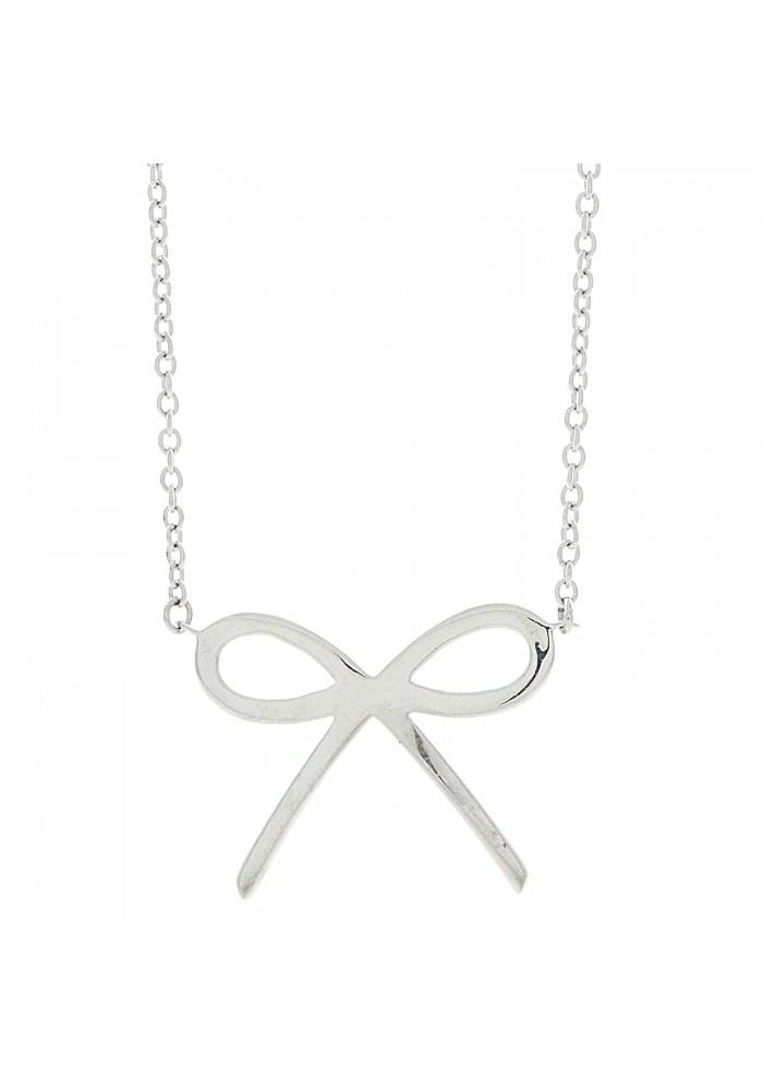 "Plain Silver Bow Necklace, 18"""