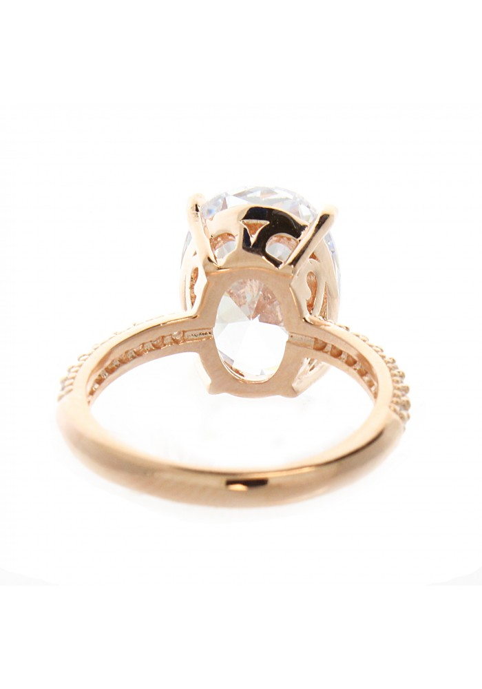 Rose Gold OVAL CZ CENTER PAVE BAND RING-