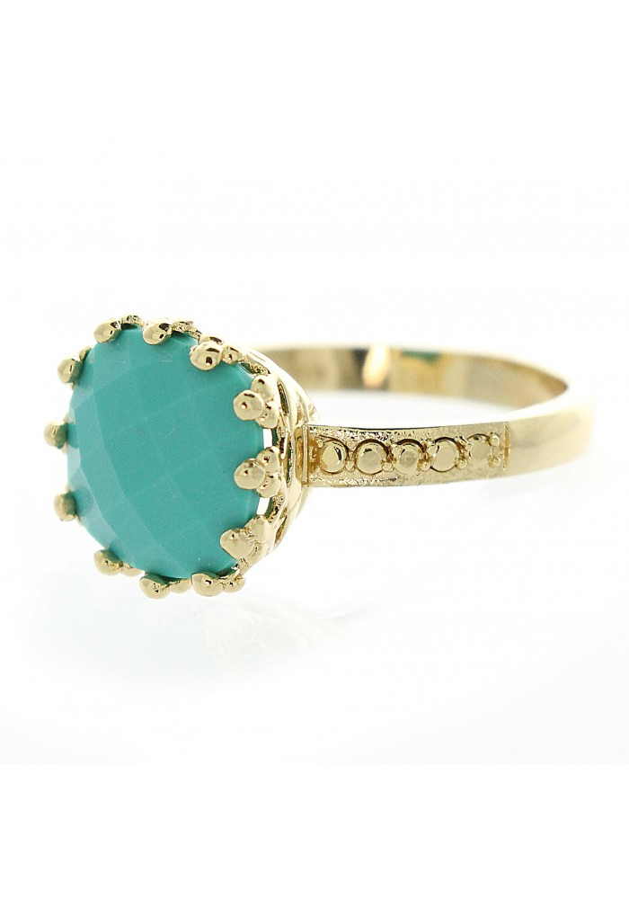Square Faceted Turquoise Crown Ring