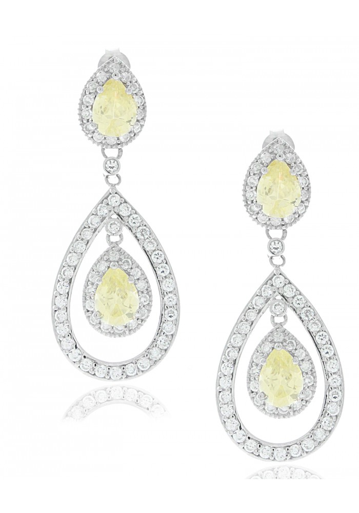 Sterling Silver .925 Jonquil CZ Double Pear Pave Earrings