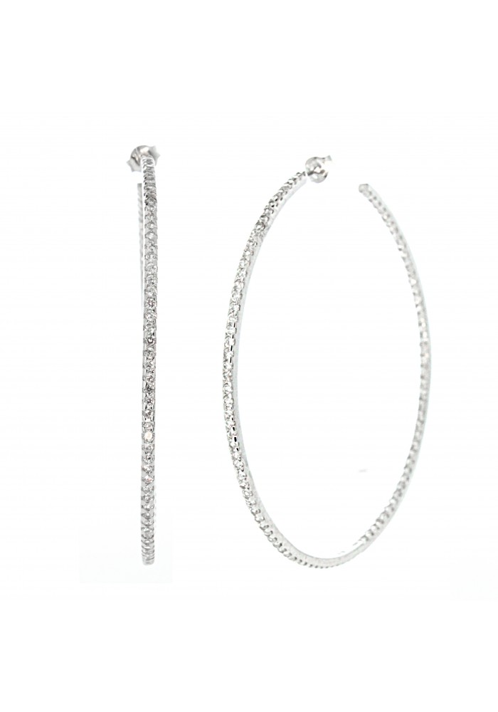 Sterling Silver .925 CZ Large Inside Out Round Hoop Earrings 2.5 in