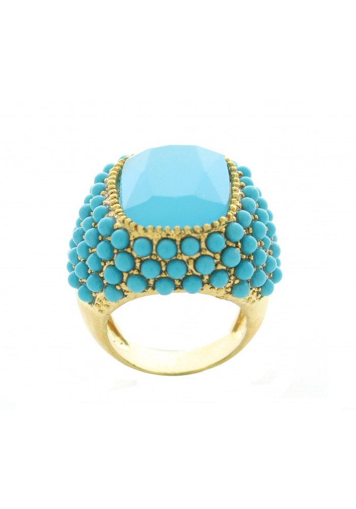 Gold Plated Blue Rectangle Statement Ring