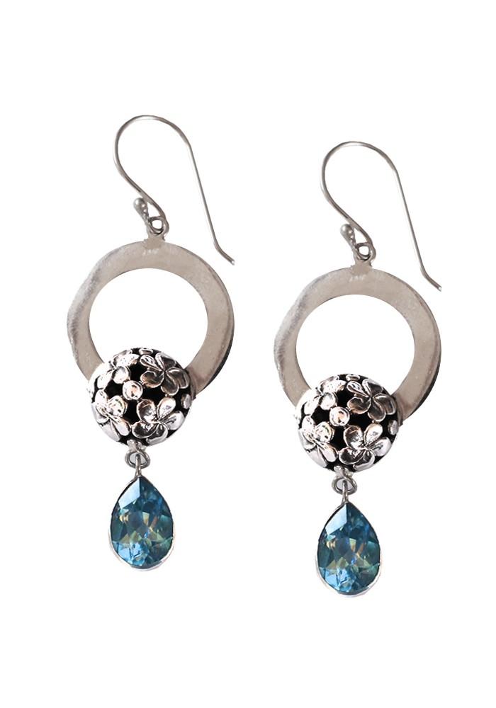 Sterling Silver Floral Round Blue Topaz Milo Drop Earrings