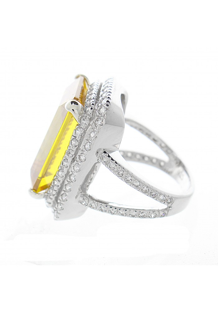 Large CZ Pave Yellow Statement Ring